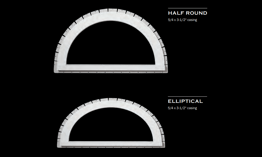 Exterior PVC trim can be shaped to surround half circles, circles, ovals, and arches.